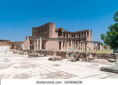 Sardes (Sardis) Ancient City which has gymnasium and synagogue ruins and columns in Manisa, Turkey.