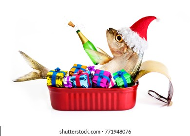 Sardine with santa's hat and gifts