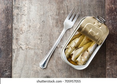 Sardines can preserve isolated on white background.Top view