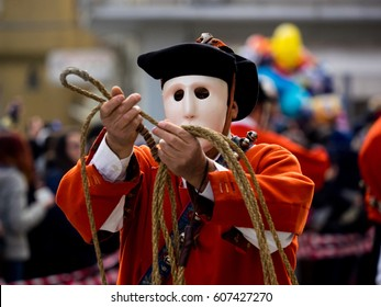 Sardinia carnival tradition with Issohadores and mamuthones mask