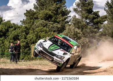 SARDINIA, ITALY - JUN 10: Czech driver Jan Kopecky and his codriver Pavel Dresler in a Skoda Fabia R5 race in the Rally Italia Sardegna 2018, on Jun 10, 2018 in Sardinia, Italy.