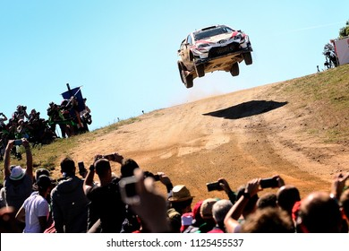 SARDINIA, ITALY - JUN 10: Finnish driver Esapekka Lappi and his codriver Janne Ferm in a Toyota Yaris WRC race in the Rally Italia Sardegna 2018, on Jun 10, 2018 in Sardinia, Italy.