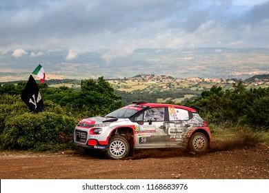SARDINIA, ITALY - JUN 10: French driver Stephane Lefebvre and his codriver Gabin Moreau in a Citroen C3 R5 race in the Rally Italia Sardegna 2018, on Jun 10, 2018 in Sardinia, Italy.