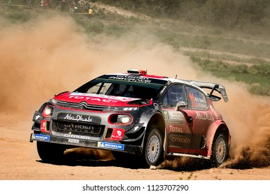 SARDINIA, ITALY - JUN 10: Irish driver Craig Breen and his codriver Scott Martin in a Citroren C3 WRC race in the Rally Italia Sardegna 2018, on Jun 10, 2018 in Sardinia, Italy.