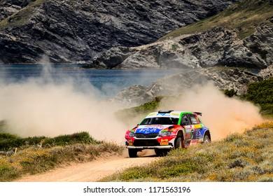 SARDINIA, ITALY - JUN 10: Italian driver Giuseppe Dettori and his codriver Carlo Pisano in a Skoda Fabia R5 race in the Rally Italia Sardegna 2018, on Jun 10, 2018 in Sardinia, Italy.