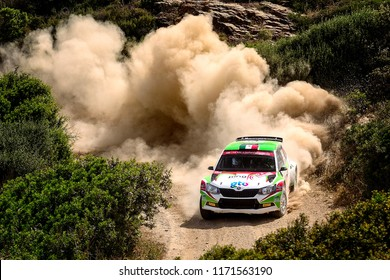SARDINIA, ITALY - JUN 10: Mexican driver Benito Guerra and his codriver Borja Rozada in a Skoda Fabia R5 race in the Rally Italia Sardegna 2018, on Jun 10, 2018 in Sardinia, Italy.