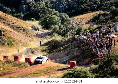 SARDINIA, ITALY - JUN 10: New Zealander driver Hayden Paddon and his codriver Sebastian Marshall in a Hyundai i20 WRC  race in the Rally Italia Sardegna 2018, on Jun 10, 2018 in Sardinia, Italy.
