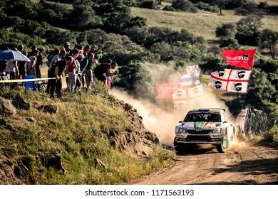 SARDINIA, ITALY - JUN 10: Norwegian driver Ole Christian Veiby and his codriver Stig Rune Skjaermoen in a Skoda Fabia R5 race in the Rally Italia Sardegna 2018, on Jun 10, 2018 in Sardinia, Italy.