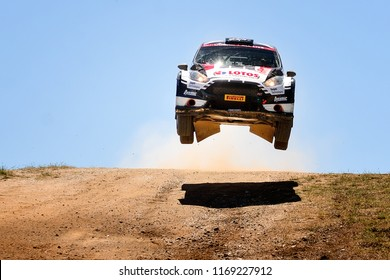 SARDINIA, ITALY - JUN 10: Polish driver Kajetan Kajetanowicz and his codriver Maciek Szczepaniak in a Ford Fiesta R5 race in the Rally Italia Sardegna 2018, on Jun 10, 2018 in Sardinia, Italy.