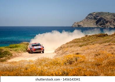 SARDINIA, ITALY - JUN 16: Spanish driver Dani Sordo and his codriver Carlos del Barrio in a Hyundai i20 Coupe WRC race in the Rally Italia Sardegna 2019, on Jun 16, 2019 in Sardinia, Italy.