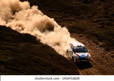 SARDINIA, ITALY - JUN 16: Spanish driver Jan Solans and his codriver Mauro Barreiro in a Ford Fiesta R2T race in the Rally Italia Sardegna 2019, on Jun 16, 2019 in Sardinia, Italy.