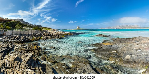 Sardinia la pelosa stintino panorama view from the beach coast on ancient tower turquise blue sea ocean blue sky background