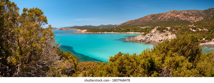 Sardinia, view of stunning bay of Cala Perda Longa, Teulada, Italy