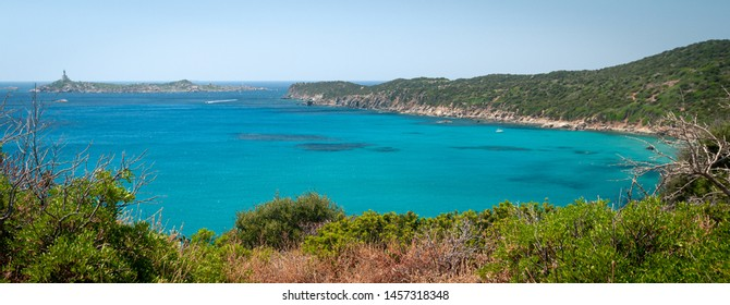 Sardinia, Villasimius. View of the beach of Capo Carbonara surrounded by unspoilt nature