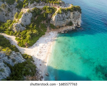 Sardinian Beach at Sunset droneview