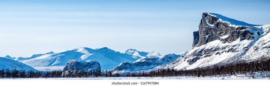 Sarek Panorama on the Kungsleden Wintertrail in Northern Sweden - Lappland