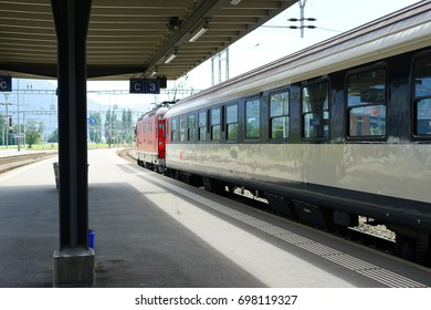 SARGANS, SWITZERLAND -17 AUG 2017- View of the Sargans train station (Sargans Bahnhof) where trains stop from Zurich. Sargans is a town in the St Gallen canton in the East of Switzerland.
