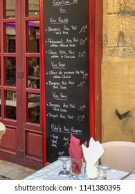 Sarlat, Dordogne / France - September 3 2017: Menu outside a restaurant in Sarlat