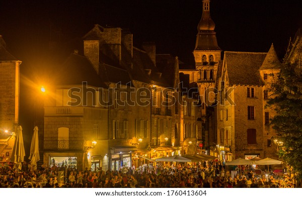 Sarlat-la-Caneda, France - August 17, 2019: Night in Sarlat la Caneda a beautiful medieval town and one of the highlights to a visit to the Dordogne Perigord