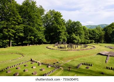 Sarmizegetusa Regia, Transylvania, Romania. Sarmizegetusa Regia are ruins of dacian temple, citadel,  dwellings and sacred zone in Transylvania, Hunedoara, Romania