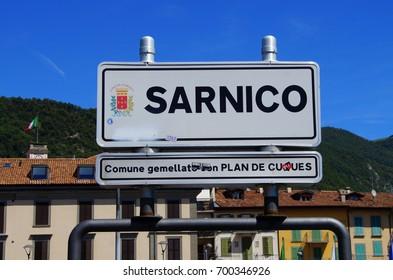 Sarnico, Italy -  August 13, 2017:City entering sign of Sarnico.