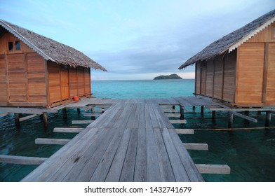 Saronde Island, Gorontalo, Indonesia. August 9,2014. cottages on the sea like in Maldives but this is in Indonesia precisely on Saronde Island