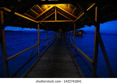 Saronde Island, Gorontalo, Indonesia. August 9,2014. the bridge to the cottage above the sea like in Maldives but this is in Indonesia precisely on the Saronde Island