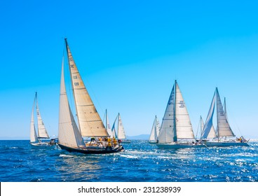 SARONIC GULF, GREECE - MAY 31, 2013: Racing sailing boats during a regatta at Saronic gulf near Athens Greece on May 31, 2013