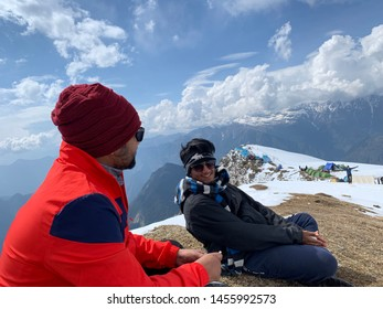 SARPASS, KASOL, HIMACHAL PRADESH, INDIA MAY 2019, Thinking out of the box discussion on top of sarpass hill