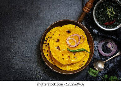Sarson ka saag and Makki ki roti /Indian Punjabi corn bread with mustard leaves curry