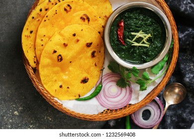 Sarson ka saag and Makki ki roti /Indian Punjabi corn bread with mustard leaves curry