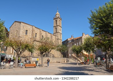 SARTENE, CORSE-DU-SUD / FRANCE - OCTOBER 22, 2018: Place de la Liberation in the historical centre of the town is a popular place of locals and tourists