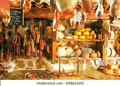 Sartene, Corsica island / France - April, 15, 2018 :  Delicatessen shop with delicious corsican products, Sartene, Corsica island, France