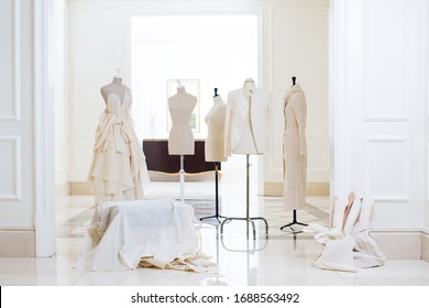Sartorial mannequin and designer dress in showroom