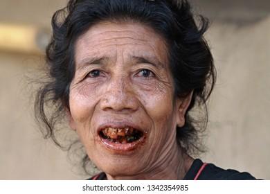 Sasak tribe woman.3th November 2010. Sade village. Lombok Island. Indonesia. Asia.