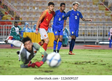 Sasalak Haiprakhon No.16 (blue) of Thailand in action during 2018The International Friendly Match between Thailand and China at the Rajamangala Stadium on June 2, 2018 in Bangkok,Thailand,