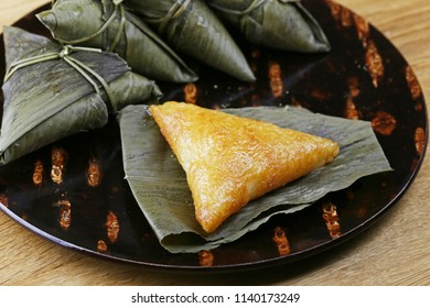 Sasamaki(or Chimaki). Japanese traditional cuisine made of rice and wrapped bamboo leaves.