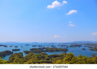 "Sasebo City, Nagasaki Prefecture, Japan. The scenery of The Kujukushima Island and the Goto Islands seen from the ""Tenkaiho"" observatory."