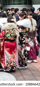 Sasebo, Japan - 07 JAN 2018:  Japanese woman in kimono's during coming of age day in Japan.
