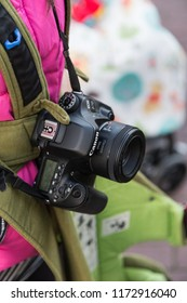 Sasebo, Japan - 10MAR2018: Canon DSLR camera with 50mm f/1.8 lens.