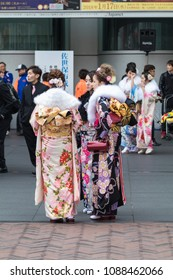Sasebo, Japan - January 7, 2018:  Japanese women wearing Kimono during coming of age day celebration in Japan.