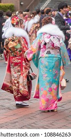 Sasebo, Japan - January 7, 2018: Japanese women in Kimono's during the coming of age celebration in Japan.