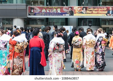 Sasebo, Japan - January 7, 2018:  Japanese woman in Kimono during coming of age day in Japan.