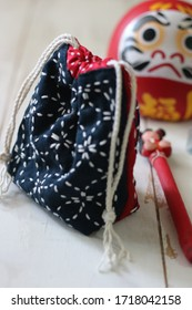 Sashiko Pouch is a typical Japanese Handmade Produk. Selective focus.