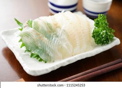 Sashimi bastard halibut. Japanese food.