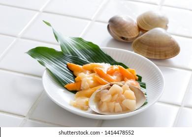 Sashimi eat shellfish, Aoyagi, Japanese bivalves, Japanese food
