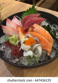 Sashimi of japanese food (Salmon, Ika, Akami and Hamachi)