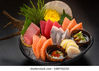 Sashimi Japanese food, Sashimi set. Salmon, wasabi, fish, shrimp.