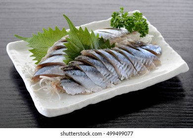 Sashimi of Japanese pacific saury