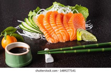 sashimi on the black background